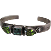 Vintage Roie Jaque Navajo Sterling Silver Peridot And Spinel Cuff Bracelet