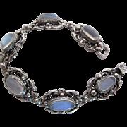 1940's Vintage G. Cini Sterling Silver And 13.6 Carat Moonstone Line Bracelet