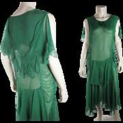 Vivid 1920's Emerald Green Silk Chiffon Evening Dress In Larger Size