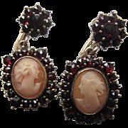 Antique 900 Silver Vermeil Bohemian Garnet Earrings With Shell Cameos