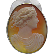 Antique Victorian Sterling Silver Cameo Brooch