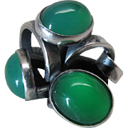 Distinctive Mid 20th Century Modernist Sterling Silver And Chrysoprase Ring