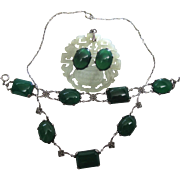 Art Deco Era Silver And Chrysoprase Necklace, Bracelet And Post Earrings Set