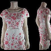 1950's Vintage Gus Mayer Embroidered White Linen Eyelet Dress