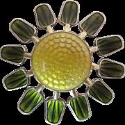 Sunny Vintage Aksel Holmsen Enameled Sterling Silver Sunflower Pin