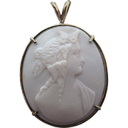 Antique White Coral Cameo Pendant Newly Mounted In 14K White Gold
