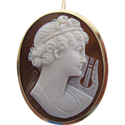 Antique Victorian 14K Gold Sardonyx Shell Cameo Pendant Brooch