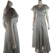 Romantic 1930's Vintage Metallic Embroidered Bias Cut Organdy Evening Dress With Rose Pattern