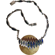 Vintage Mexican 950 Silver And Inlaid Azurite Necklace