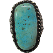1930's Vintage Silver And 10.5 Carat Sunnyside Turquoise Navajo Ring Size 12.75