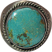 Fine 1930's Navajo Silver And Turquoise Ring - Size 12.75