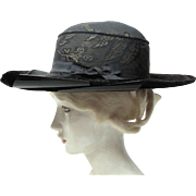 Chic Antique Edwardian Belle Epoque Gold Lamé Brocade And Silk Velvet Hat