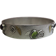 Whimsical Modernist Sterling Silver, 22K Gold And Mixed Gemstone Bangle Bracelet