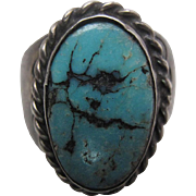 Vintage 1930's Navajo Silver And Turquoise Ring - Size 12.25