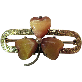 Charming Antique Victorian 14K Yellow And Rose Gold Carved Tiger Eye Shamrock Brooch / Pin