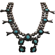 Lovely Vintage Navajo Silver And Turquoise Squash Blossom Necklace