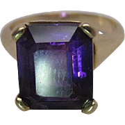 Vintage 14K Yellow Gold 4.6 Carat Emerald Cut Natural Amethyst Cocktail Ring