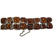 Showy Vintage Sterling Silver And Cognac Amber Bracelet