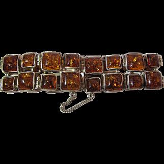 Showy Vintage Sterling Silver And Cognac Amber Bracelet