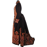 Grand Circa 1870 Paisley Printed Wool Challis Wrapper Style Bustle Dress With Train