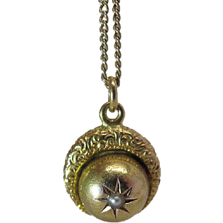 Antique Victorian 14K Yellow Gold And Seed Pearl Moon And Star Charm / Pendant