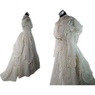 Outstanding 1860's Victorian Organdy And Lace Bustle Gown With Train