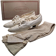Circa 1890 Kid Leather Wedding Shoes And Silk Stockings In Original Box With Provenance