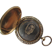 Antique Early Victorian Gold Filled Locket With Engine Turned Covers And Dag