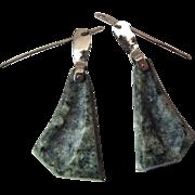 Unusual Custom Made 14K White Gold Carved Stone Dangle Earrings