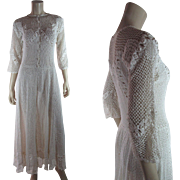 Romantic 1970's Crochet Lace Dress
