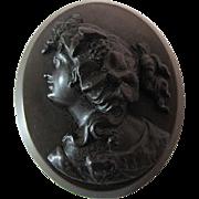 Larger Antique Victorian Gutta Percha Cameo Brooch