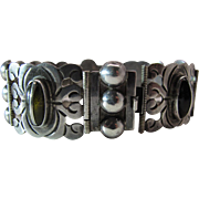 Stylish Early Mexican Silver Bracelet With Obsidian Cabochons