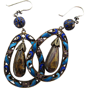 Antique Chinese Enameled Silver And Tiger Eye Dangle Earrings For Pierced Ears