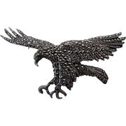 Vintage English Sterling Silver And Marcasite Eagle Brooch / Pin