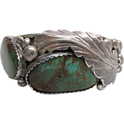 "Vintage Navajo Silver And 51 Carat Crow Springs Turquoise Cuff Bracelet Signed ""E"""