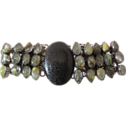Extraordinary Vintage Rutilated Topaz And Black Agate Bracelet - 9 1/2-inches