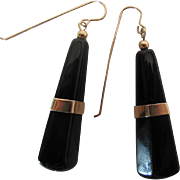 Vintage 14K Yellow Gold Black Onyx Dangle Earrings - 2-Inches Long