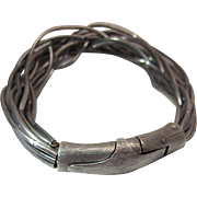 Vintage Braided Liquid Sterling Silver 8 3/8-Inch Modernist Bracelet