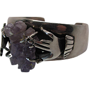 Whimsical Vintage Mexican Silver Cuff Bracelet With Hands Holding Natural Amethyst Crystal Cluster