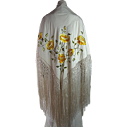 Antique Embroidered Silk Canton Shawl With Yellow Peonies