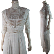 Lovely Antique Edwardian White Cotton Mixed Lace Tea Dress
