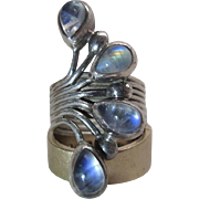Striking Vintage Sterling Silver And Labradorite Ring
