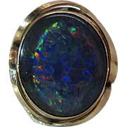 Vibrant Vintage 9 Carat Gold Opal Triplet Cocktail Ring