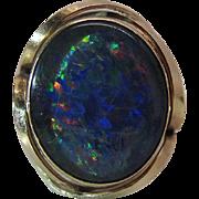 Vibrant Vintage 9 Carat Gold Opal Triplet Cocktail Ring