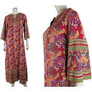 Exotic 1970's Bohemian Printed Cotton Dress With Saks / Pakistan Labels