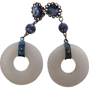 Art Deco Vintage Chinese Enameled Silver And Mutton Fat Jade Dangle Post Earrings