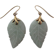 Vintage 14K Yellow Gold Carved Jadeite Jade Dangle Earrings