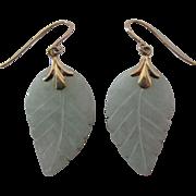 Vintage 14K Yellow Gold Carved Jadeite Jade Dangle Earrings