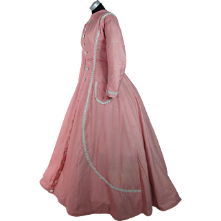 Antique 1860's Victorian Salmon Pink Wool Challis Dress With Train