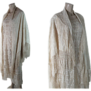 Elegant Antique Embroidered Ivory Silk Canton Shawl With Fringe